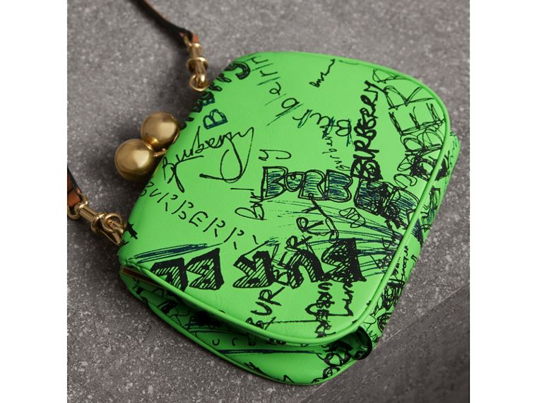 Small Doodle Print Leather Metal Frame Clutch Bag in Neon Green - Women | Burberry - cell image 4