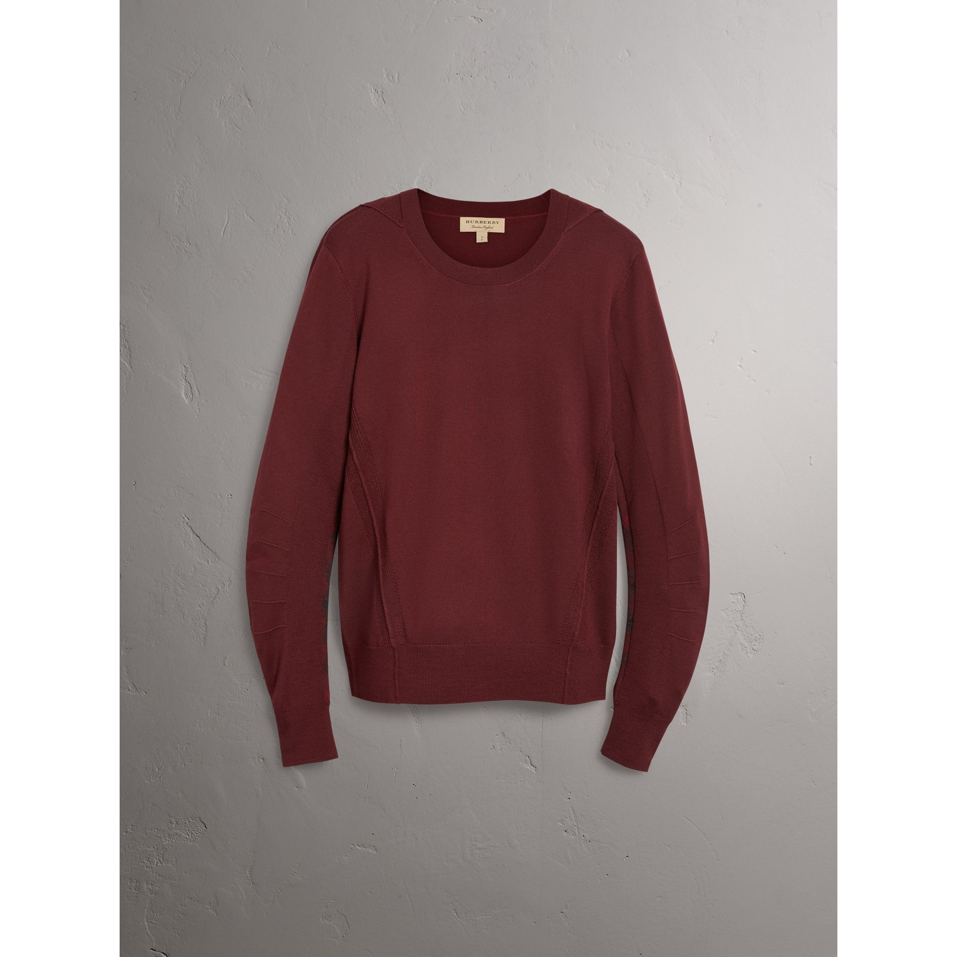 Check Detail Merino Wool Sweater in Burgundy - Men | Burberry - gallery image 3