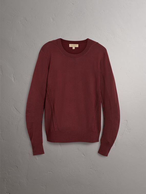 Check Detail Merino Wool Sweater in Burgundy - Men | Burberry - cell image 3