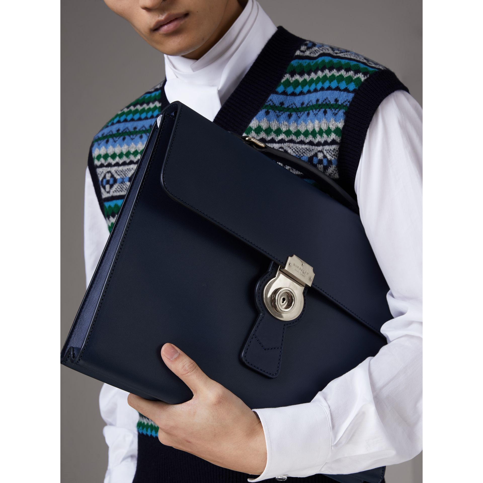The Large DK88 Document Case in Ink Blue - Men | Burberry - gallery image 2