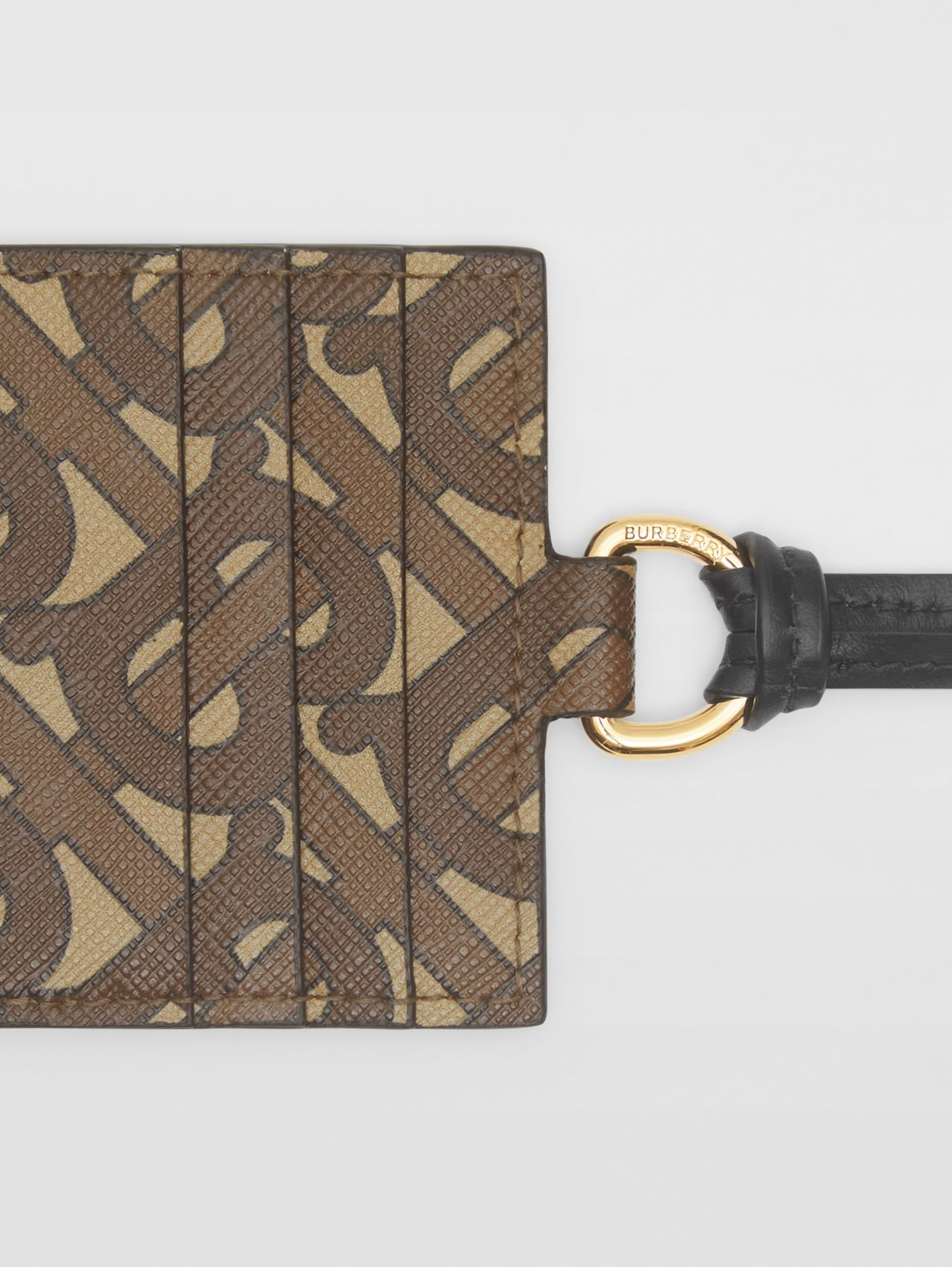 Monogram Print E-canvas Card Case Lanyard in Bridle Brown