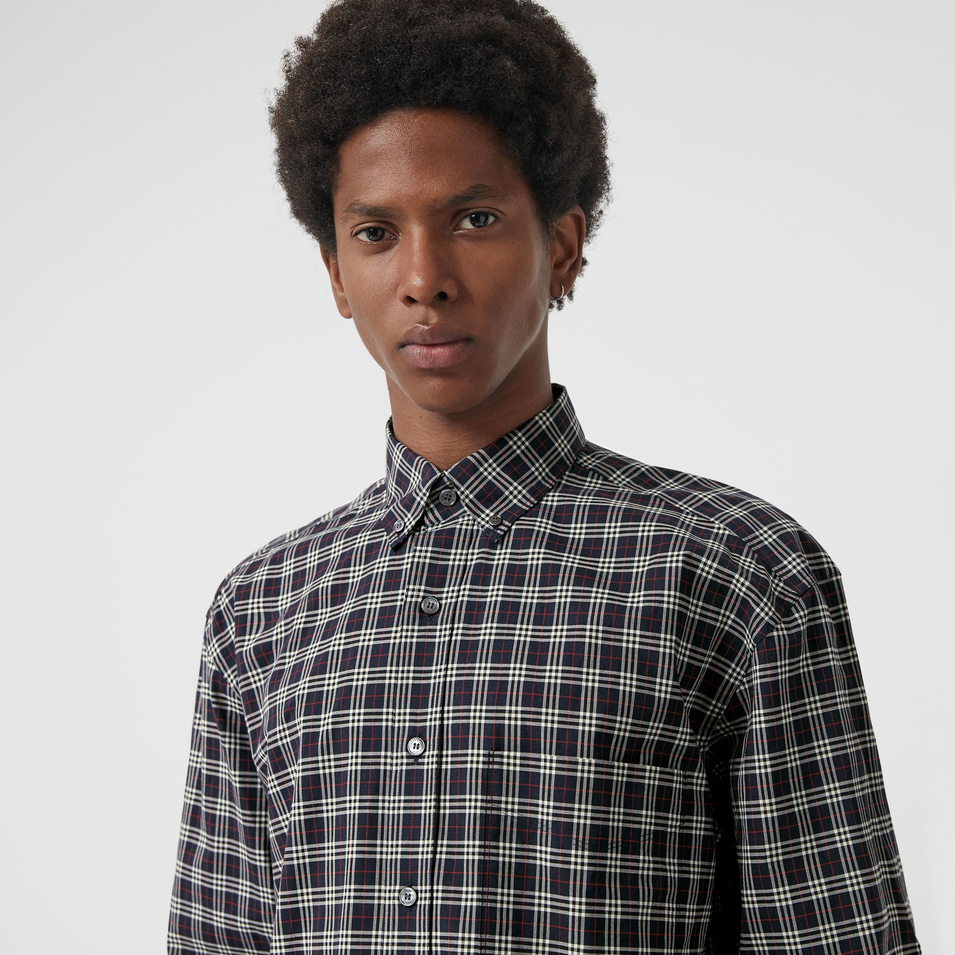 Small Scale Check Cotton Shirt in Navy - Men | Burberry Canada - gallery image 1