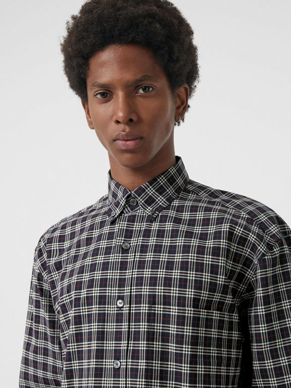 Small Scale Check Cotton Shirt in Navy - Men | Burberry - cell image 1