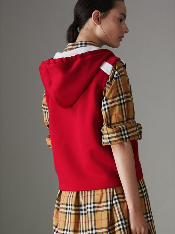 Stripe Detail Jersey Sleeveless Hoodie in Bright Poppy Red - Women | Burberry United States - cell image 2