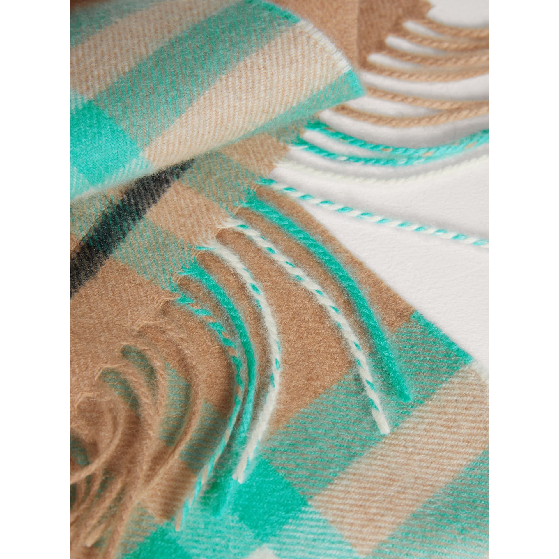 The Mini Classic Check Cashmere Scarf in Bright Aqua | Burberry - gallery image 1