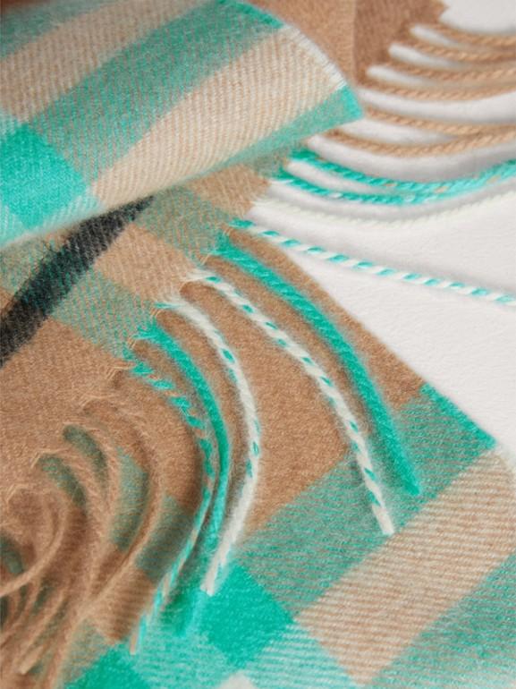 The Mini Classic Check Cashmere Scarf in Bright Aqua | Burberry - cell image 1