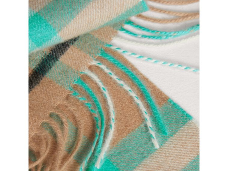 The Mini Classic Check Cashmere Scarf in Bright Aqua | Burberry - cell image 1