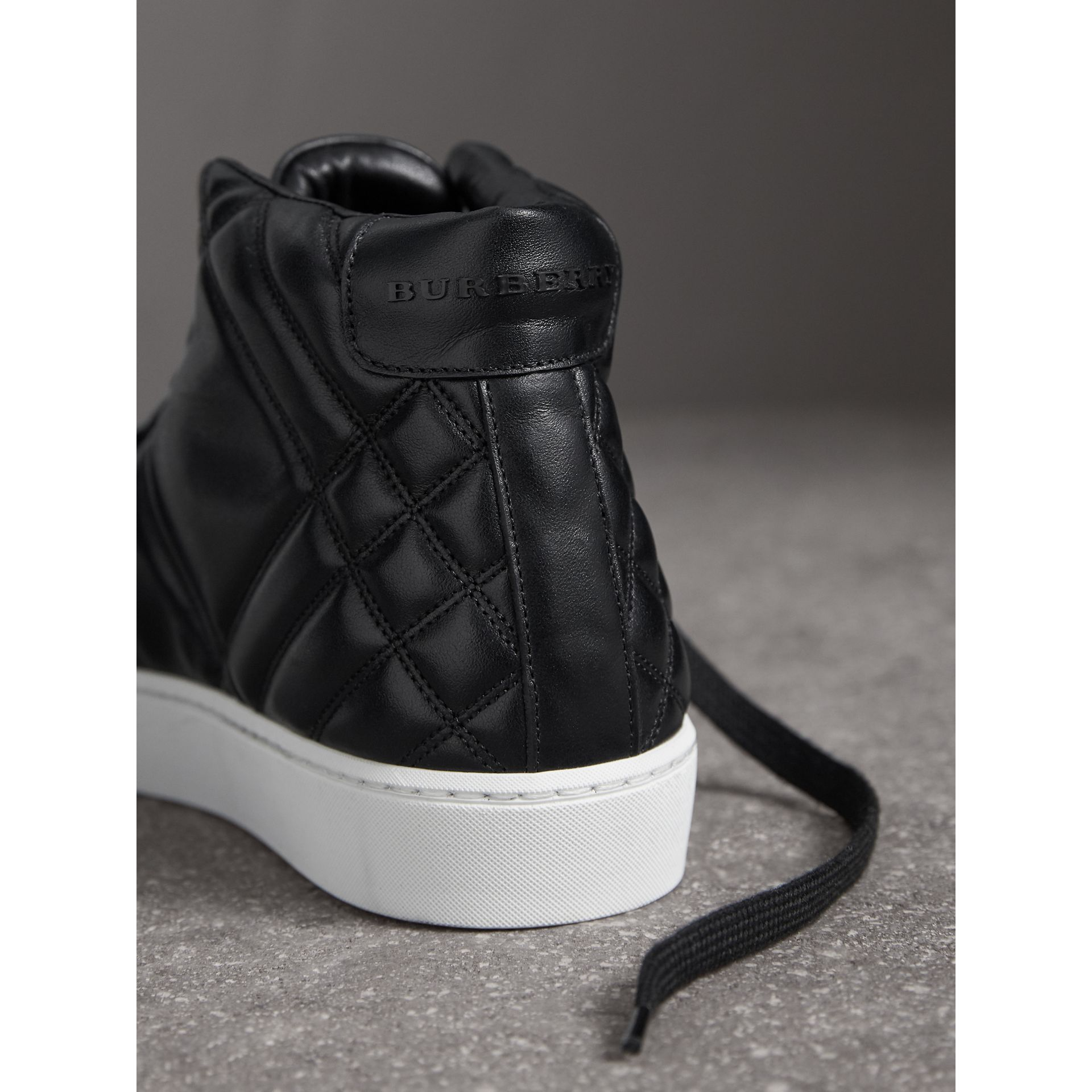 Check-quilted Leather High-top Sneakers in Black - Women | Burberry - gallery image 1