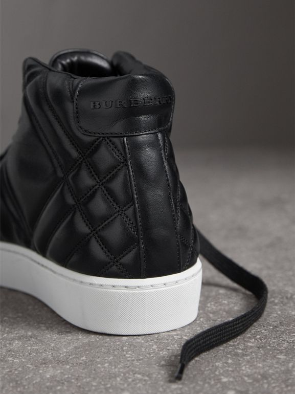 Check-quilted Leather High-top Sneakers in Black - Women | Burberry - cell image 1