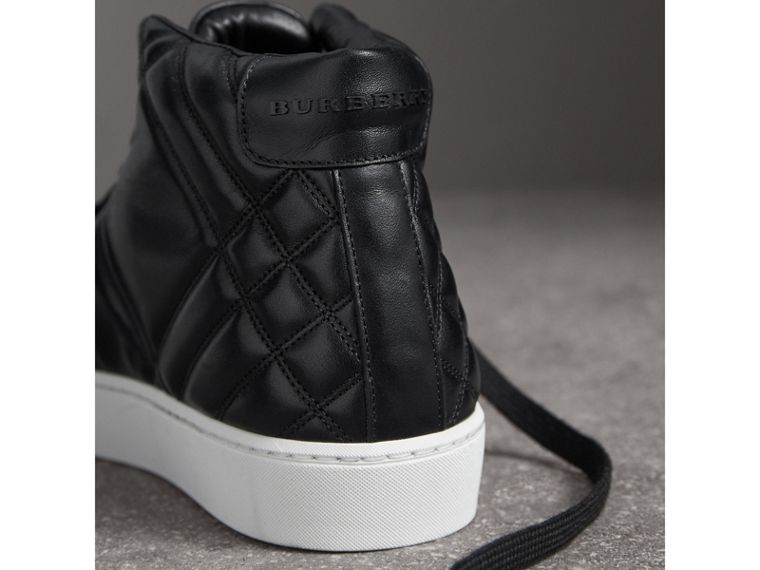 Check-quilted Leather High-top Trainers in Black - Women | Burberry - cell image 1