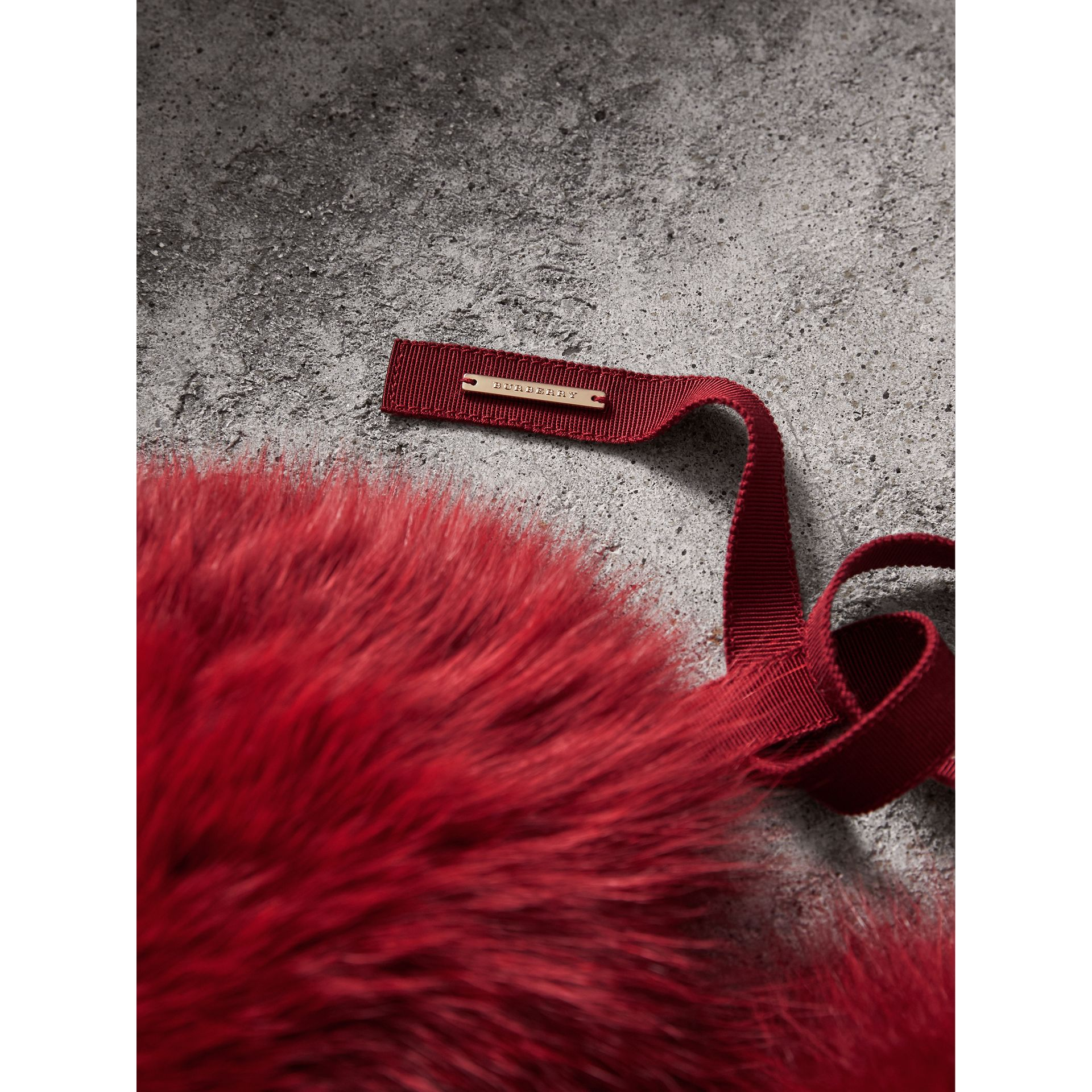 Fox Fur Collar with Check Cashmere Lining in Parade Red - Women | Burberry - gallery image 2