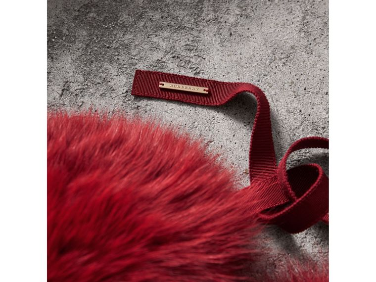 Fox Fur Collar with Check Cashmere Lining in Parade Red - Women | Burberry - cell image 1