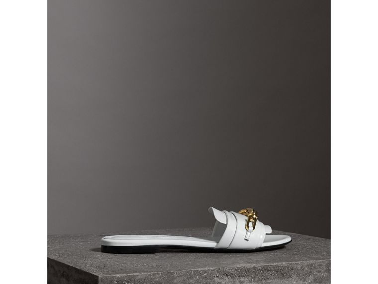 Link Detail Patent Leather Slides in Optic White - Women | Burberry Canada - cell image 4