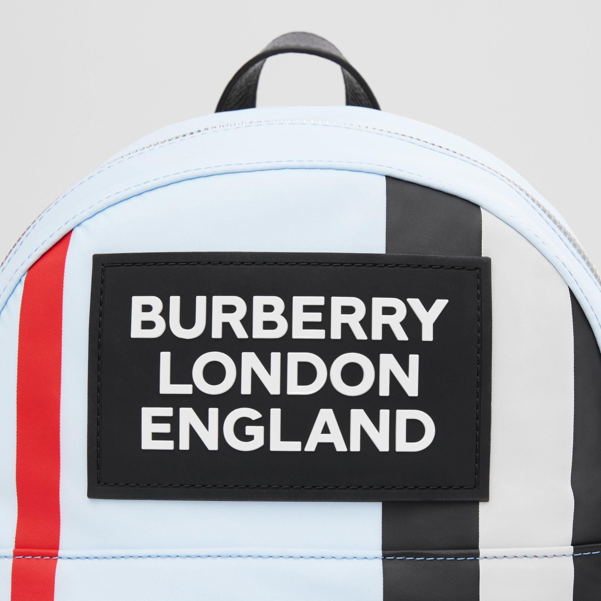 Logo Appliqué Icon Stripe ECONYL® Backpack in Pale Blue - Children | Burberry United Kingdom - gallery image 1