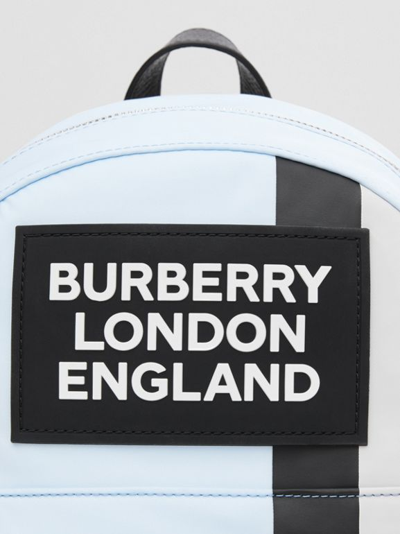 Logo Appliqué Icon Stripe ECONYL® Backpack in Pale Blue - Children | Burberry United States - cell image 1