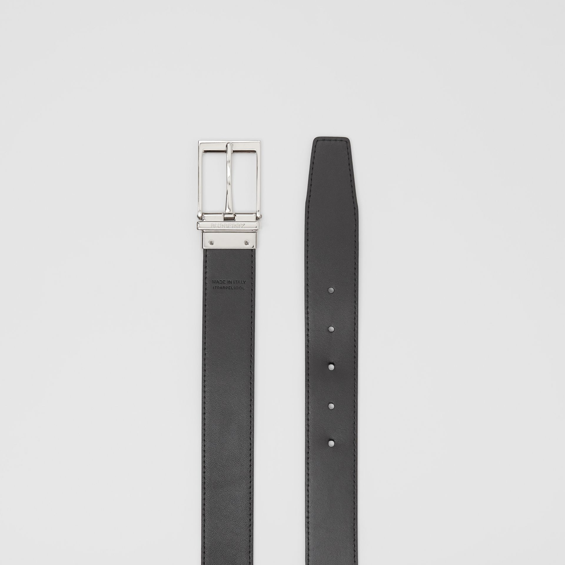 Reversible London Check and Leather Belt in Navy/black - Men | Burberry United Kingdom - gallery image 6