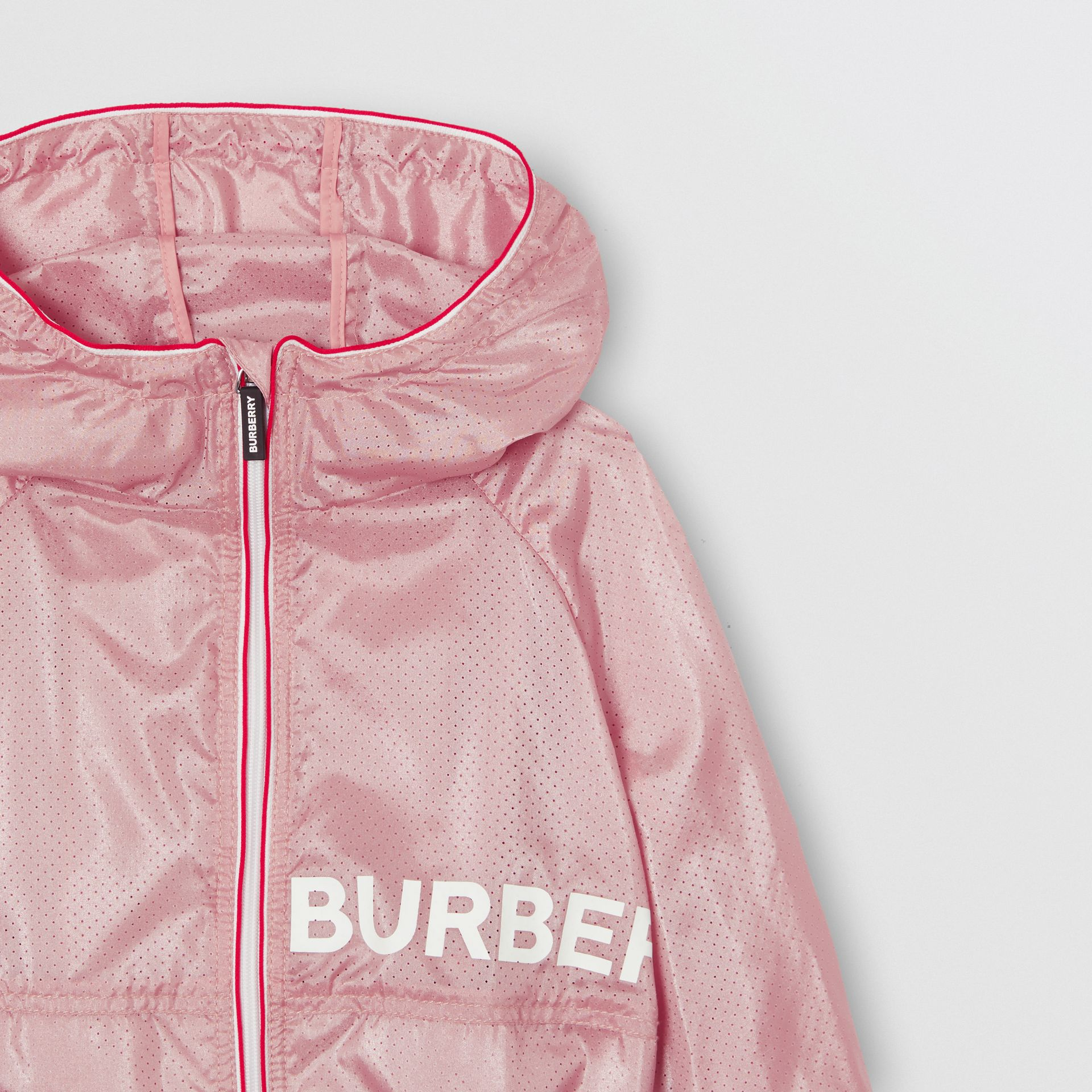 Logo Print Perforated Hooded Jacket in Pearl Rose | Burberry - gallery image 4