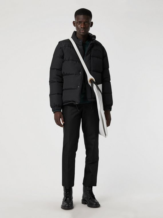 Detachable-sleeve Down-filled Puffer Jacket in Black