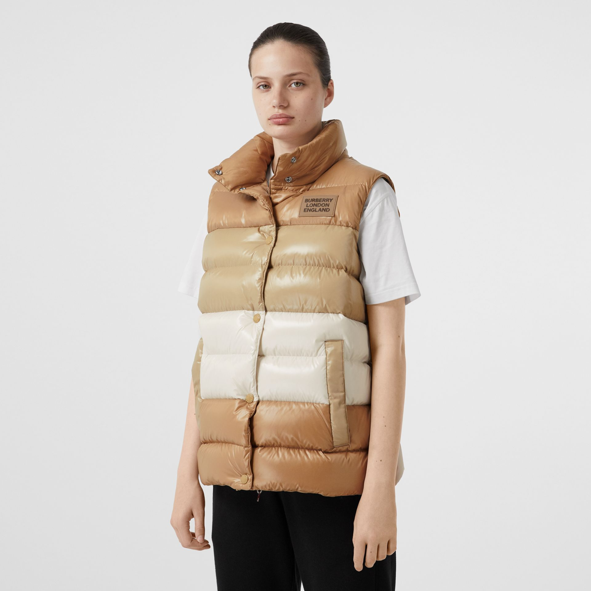 Panelled Nylon Puffer Jacket with Detachable Sleeves in Soft Camel - Women | Burberry - gallery image 6