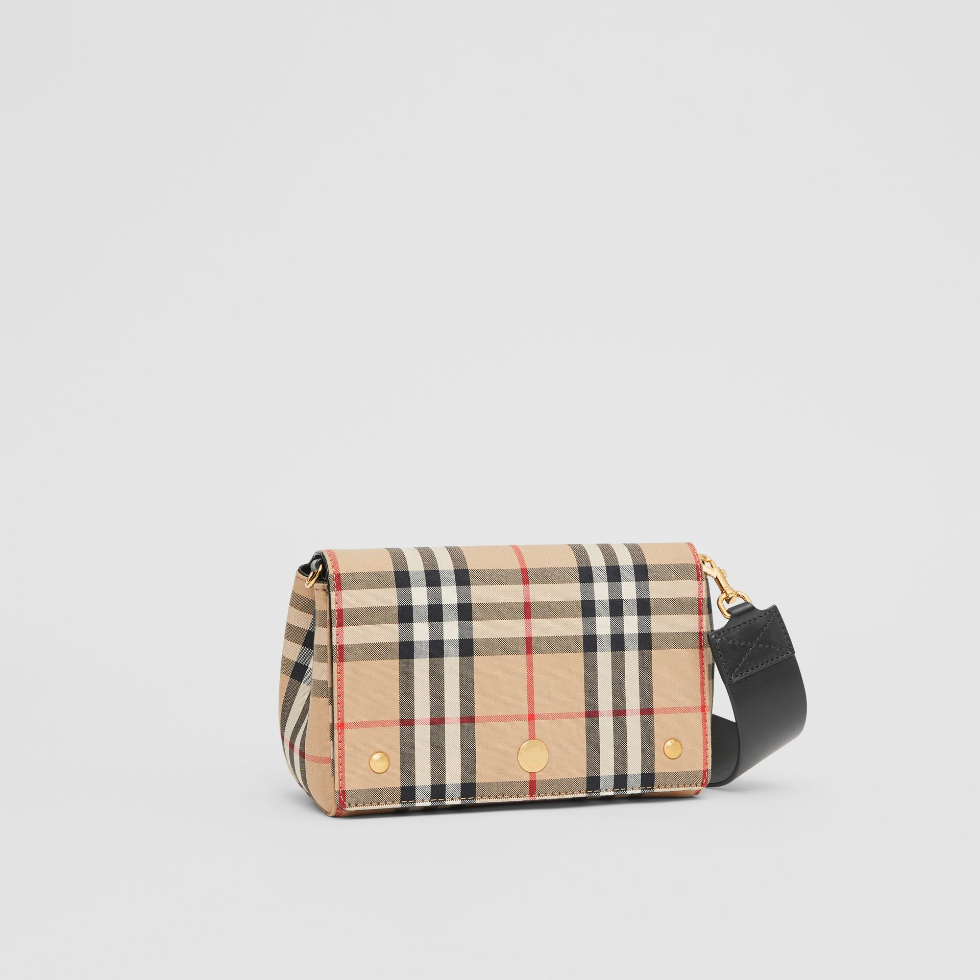Small Vintage Check and Leather Crossbody Bag in Archive Beige/black | Burberry - gallery image 6