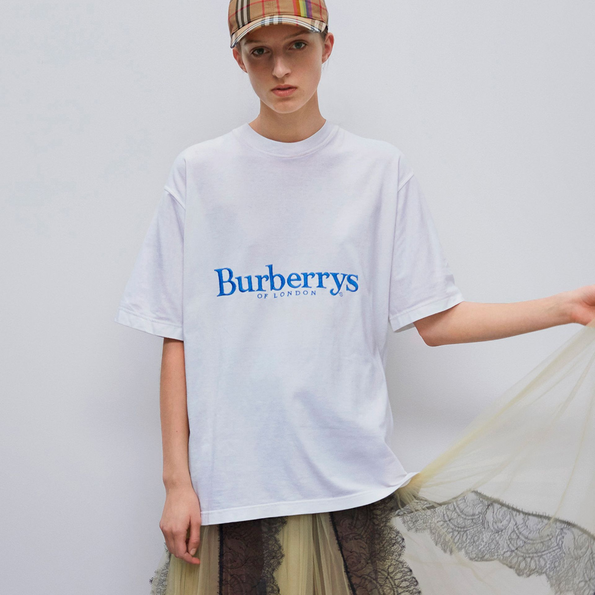 Reissued Cotton T-shirt in White - Women | Burberry - gallery image 4