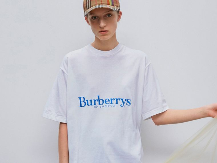 Reissued Cotton T-shirt in White - Women | Burberry - cell image 4