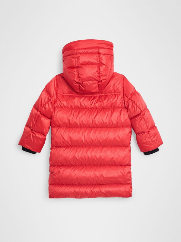 Detachable Hood Down-filled Puffer Coat in Bright Orange Red | Burberry - cell image 3