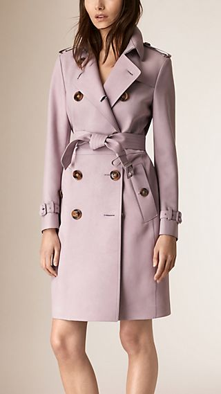 Long trench-coat en cuir velours d'agneau