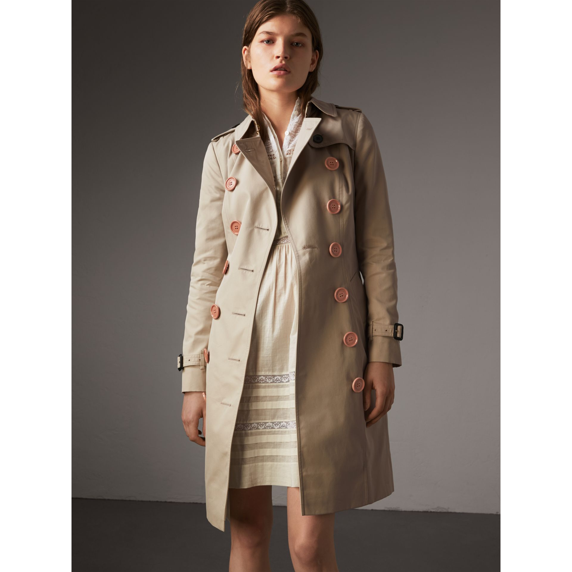 Resin Button Cotton Gabardine Trench Coat in Stone - Women | Burberry - gallery image 1