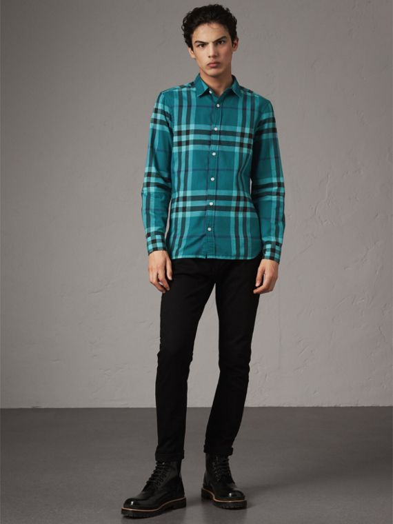 Check Cotton Flannel Shirt in Peridot Blue - Men | Burberry - cell image 3