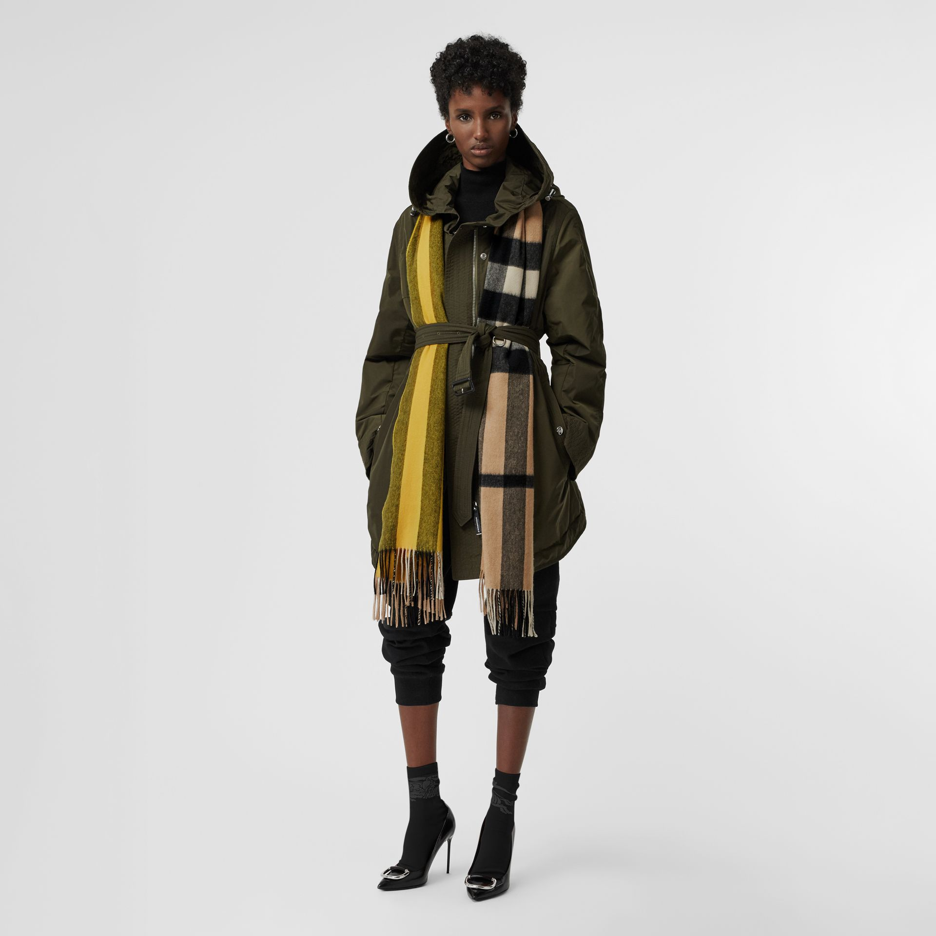 Colour Block Check Cashmere Scarf in Gorse Yellow | Burberry United Kingdom - gallery image 2