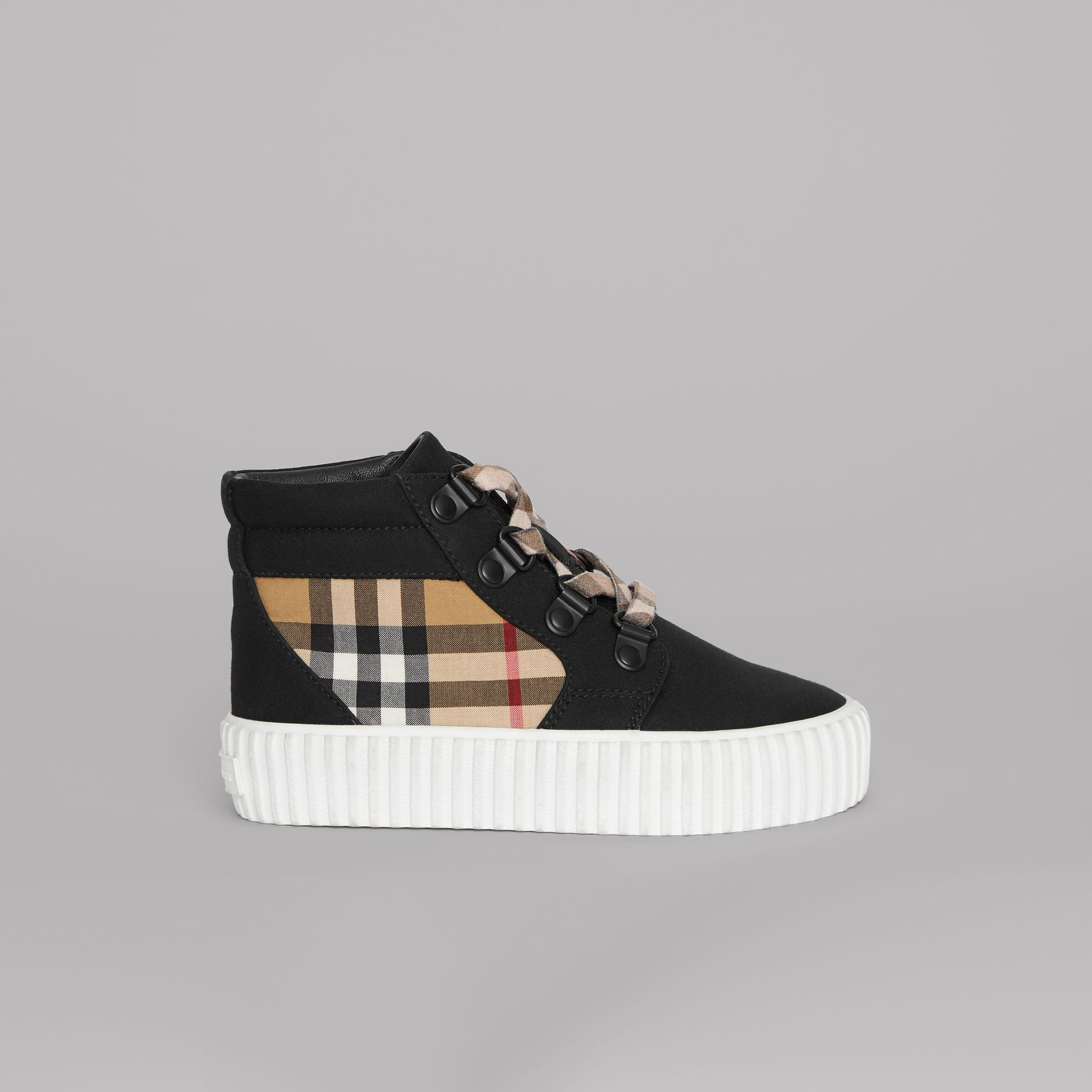 Vintage Check Detail High-top Sneakers in Black/antique Yellow - Children | Burberry United States - gallery image 3