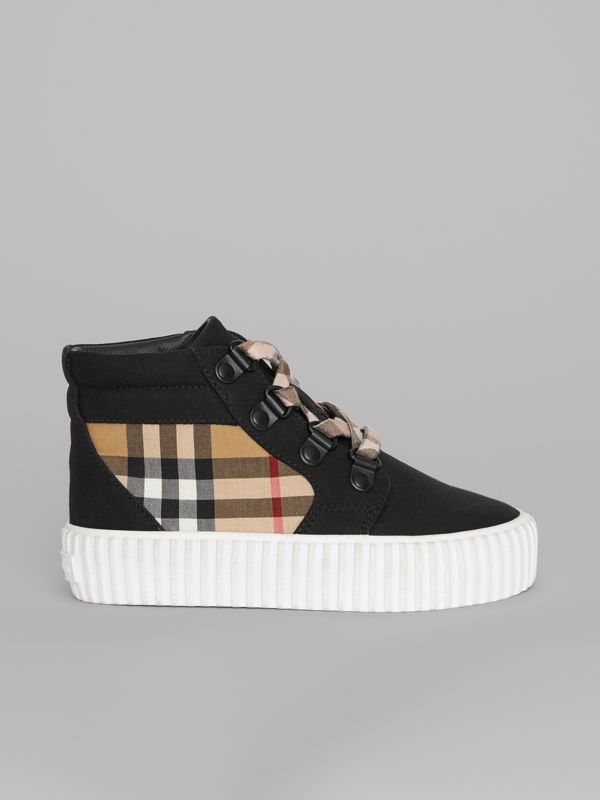 Vintage Check Detail High-top Sneakers in Black/antique Yellow - Children | Burberry United States - cell image 3