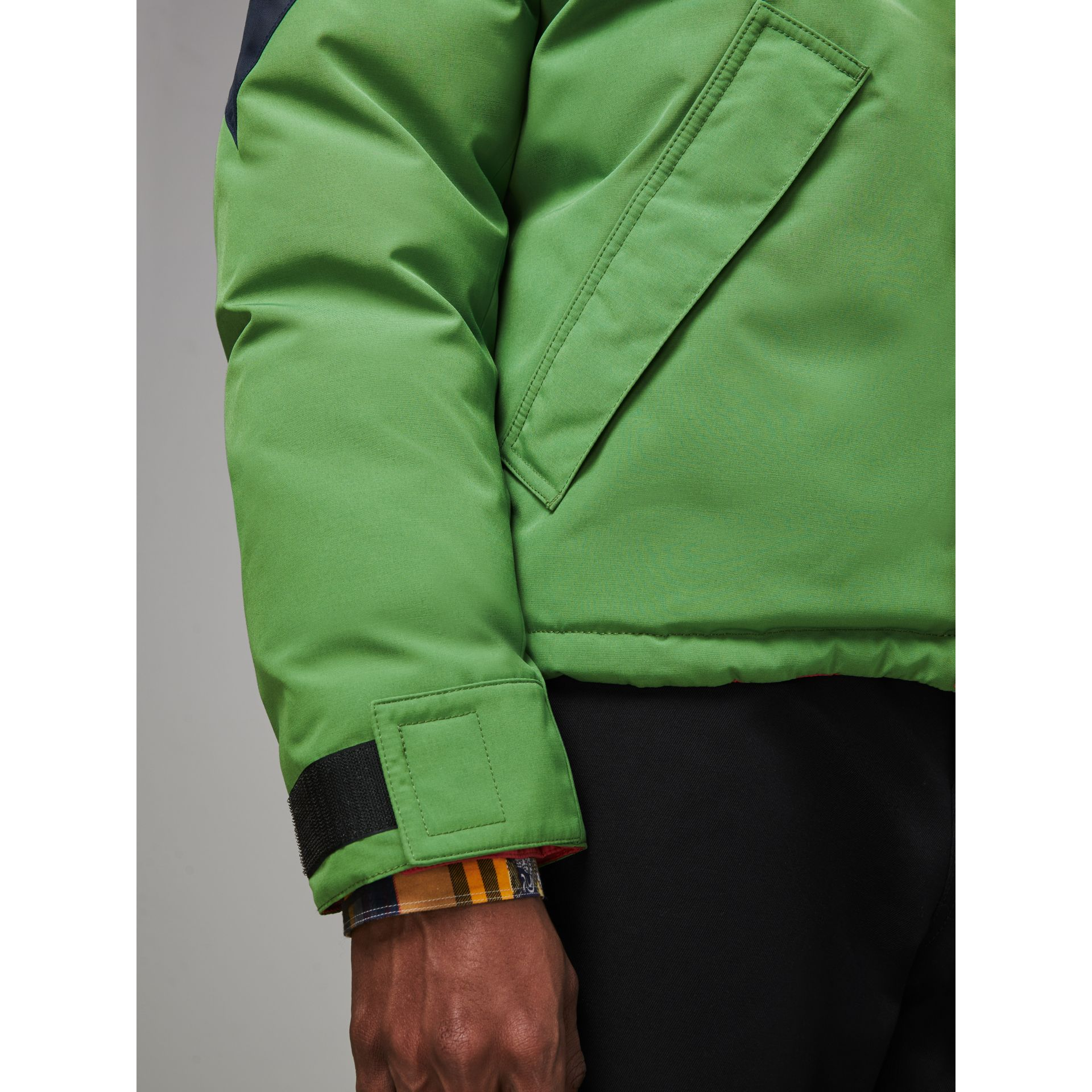 Tri-tone Down-filled Reversible Jacket in Bright Grass Green - Men | Burberry Australia - gallery image 4