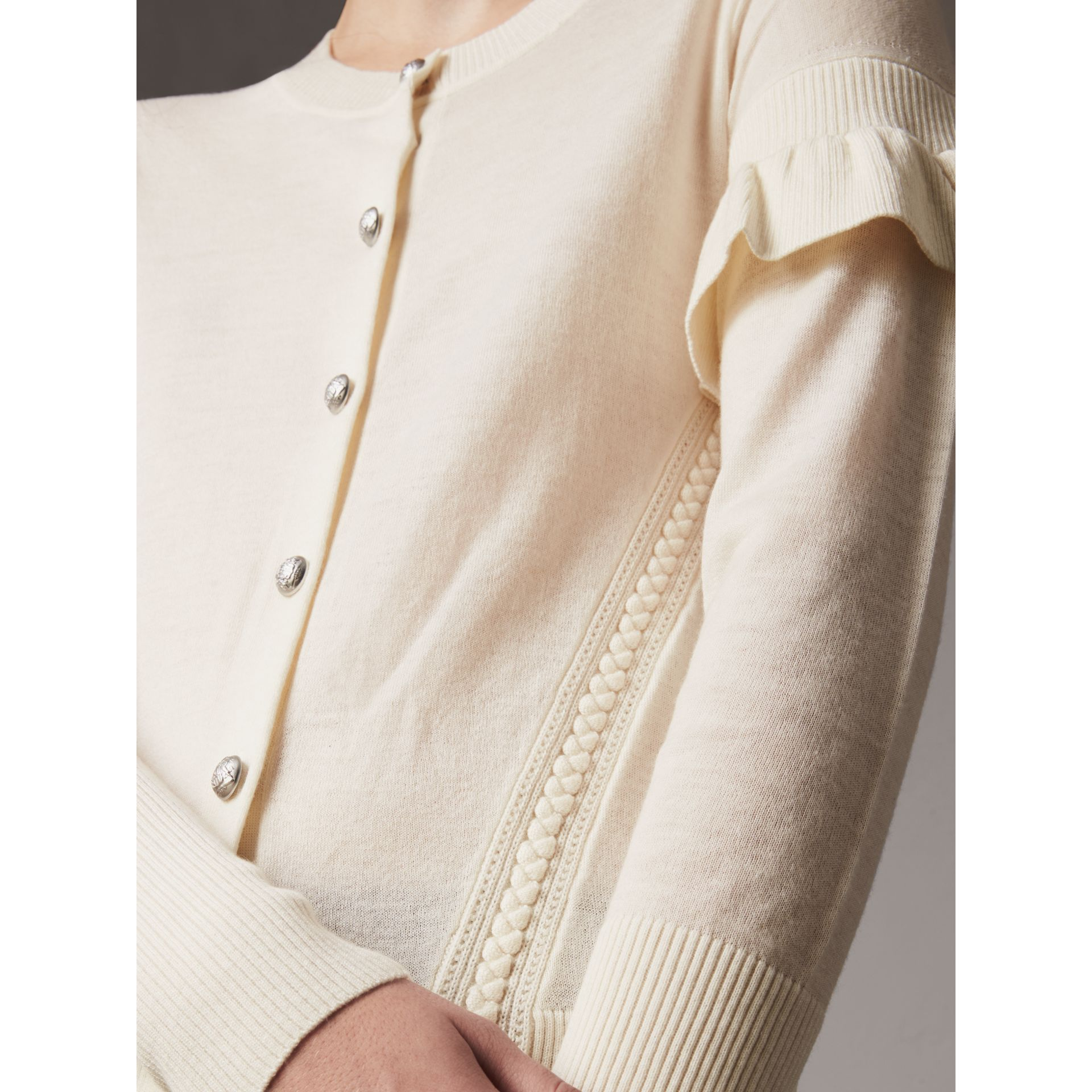 Ruffle-sleeve Braid Detail Wool Cashmere Cardigan in Natural White - Women | Burberry - gallery image 1