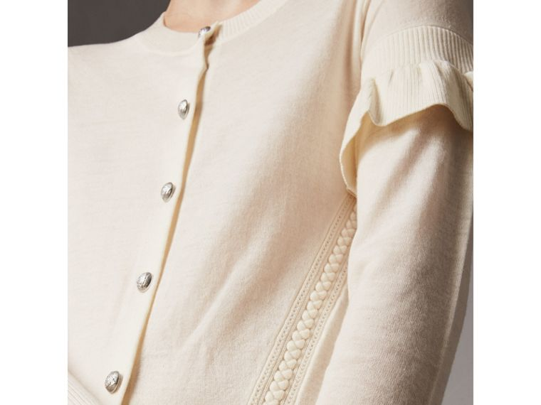 Ruffle-sleeve Braid Detail Wool Cashmere Cardigan in Natural White - Women | Burberry - cell image 1