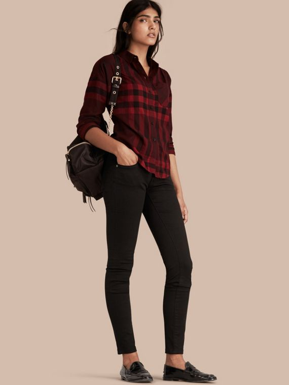 Skinny Fit Low-Rise Deep Black Jeans - Women | Burberry Australia