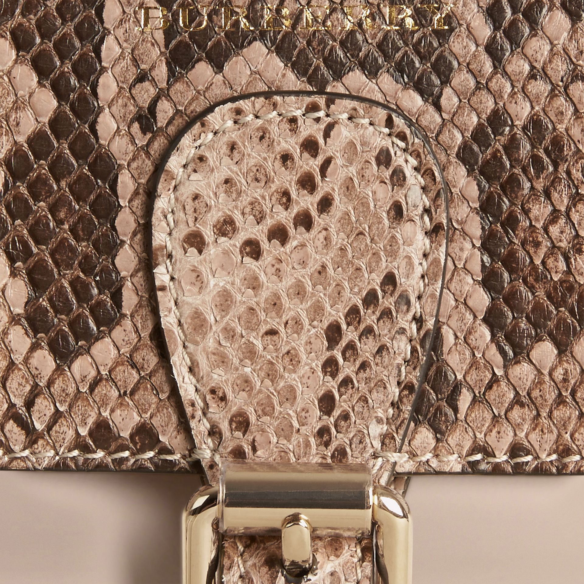 Steinfarben The Small Saddle Bag aus Glattleder und Pythonleder - Galerie-Bild 2