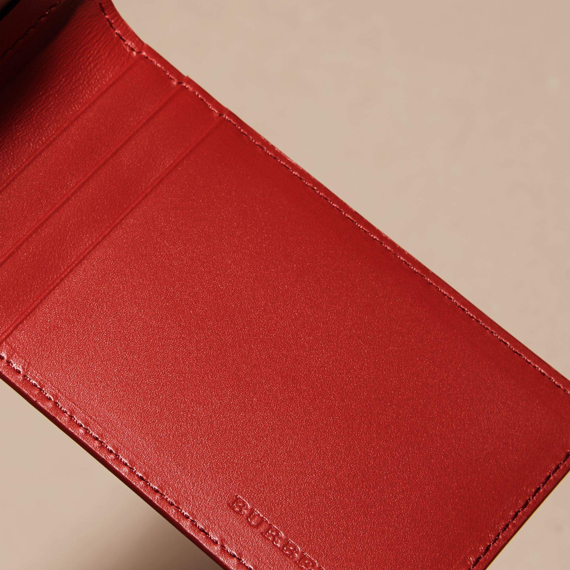 Dark military red London Leather ID Wallet - gallery image 5