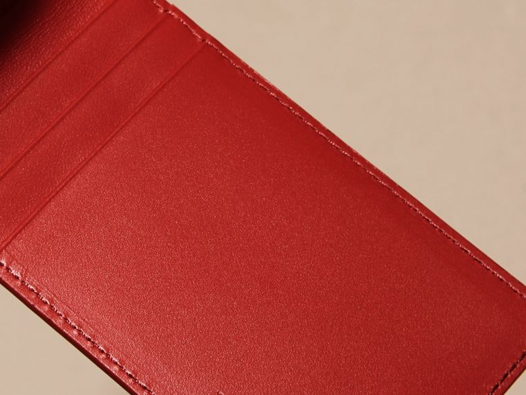 Dark military red London Leather ID Wallet - cell image 4
