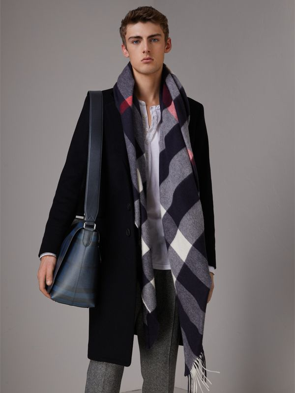 Large London Check Messenger Bag in Navy/black | Burberry - cell image 2