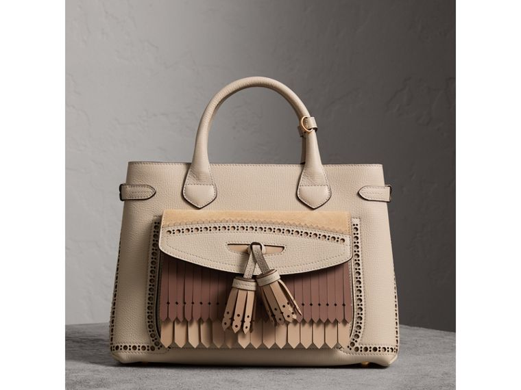 The Medium Banner in Leather with Fringed Pocket in Limestone - Women | Burberry Australia - cell image 4
