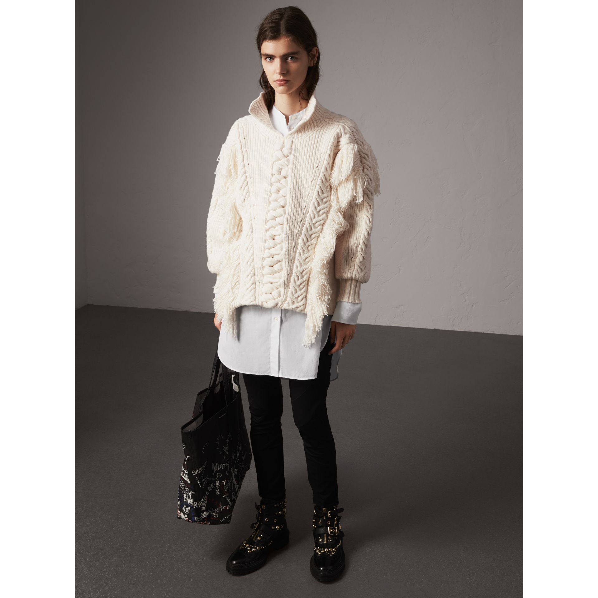 Fringed Cable Knit Cotton Blend Oversized Sweater in Natural White - Women | Burberry - gallery image 0