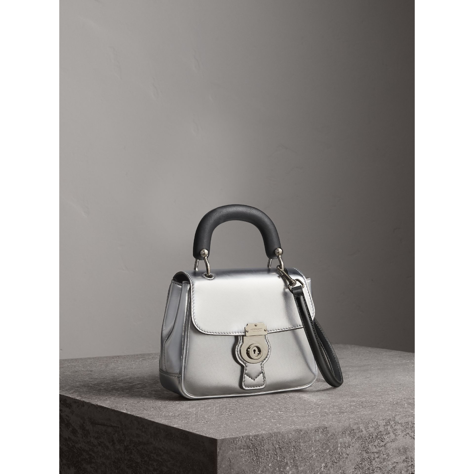 The Small DK88 Top Handle Bag in Metallic Leather in Silver - Women | Burberry - gallery image 7