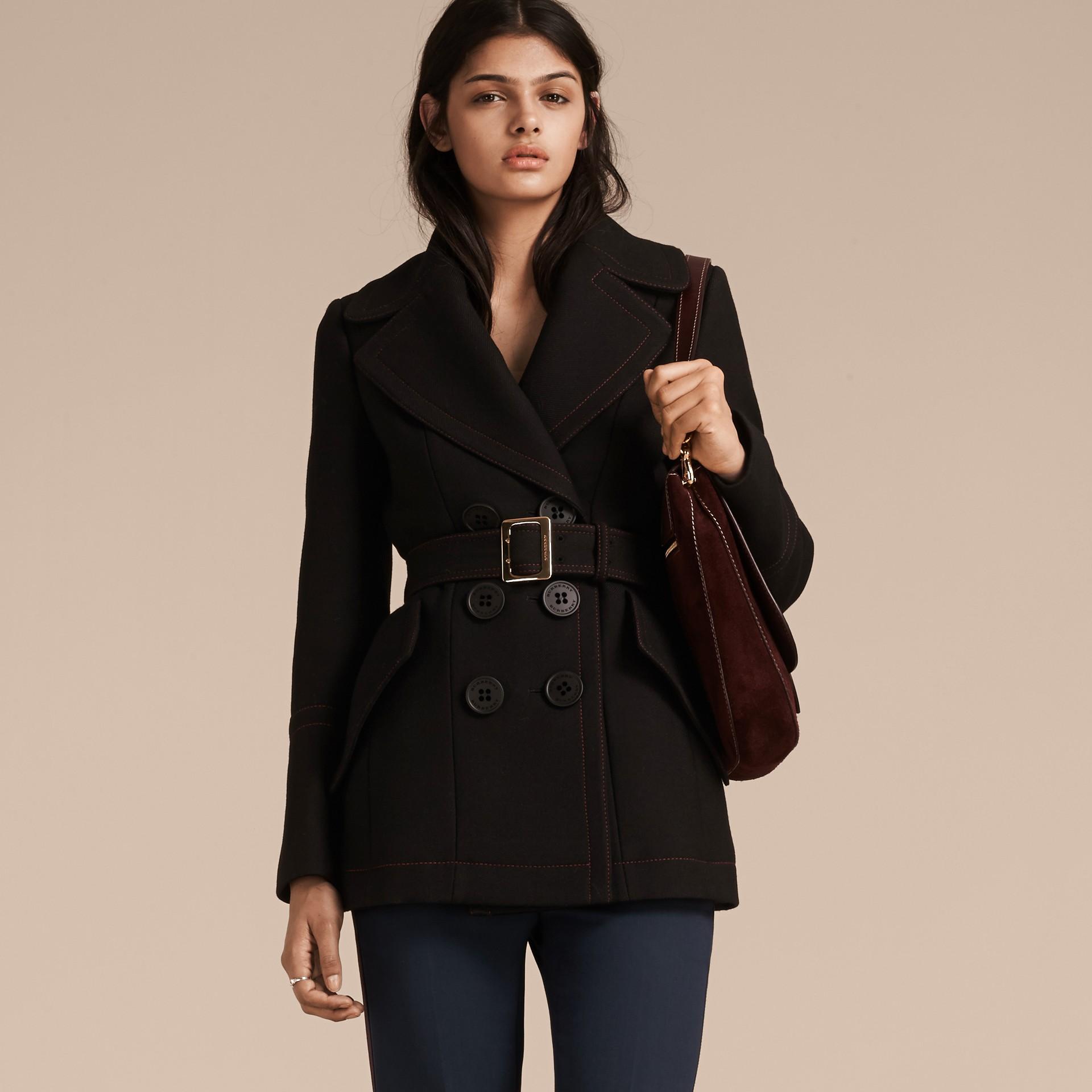 Black Wool Silk Pea Coat with Regimental Topstitching - gallery image 1