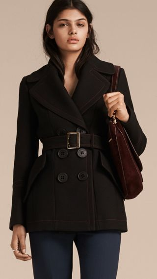 Wool Silk Pea Coat with Regimental Topstitching