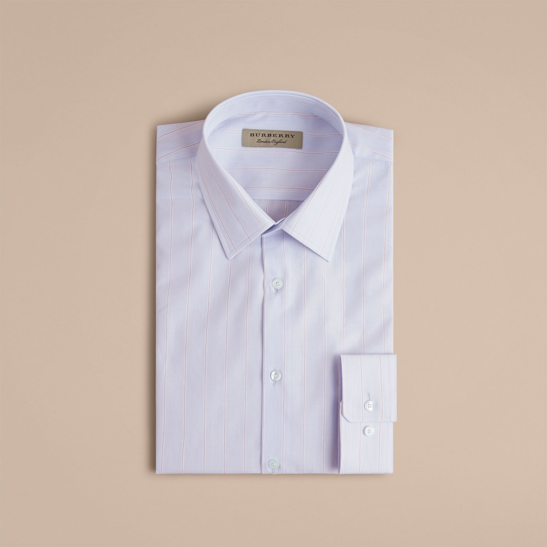 Modern Fit Cotton Linen Striped Shirt in Light Blue - Men | Burberry - gallery image 4