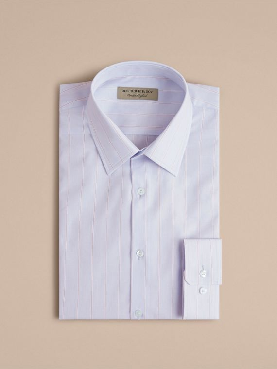 Modern Fit Cotton Linen Striped Shirt in Light Blue - Men | Burberry - cell image 3
