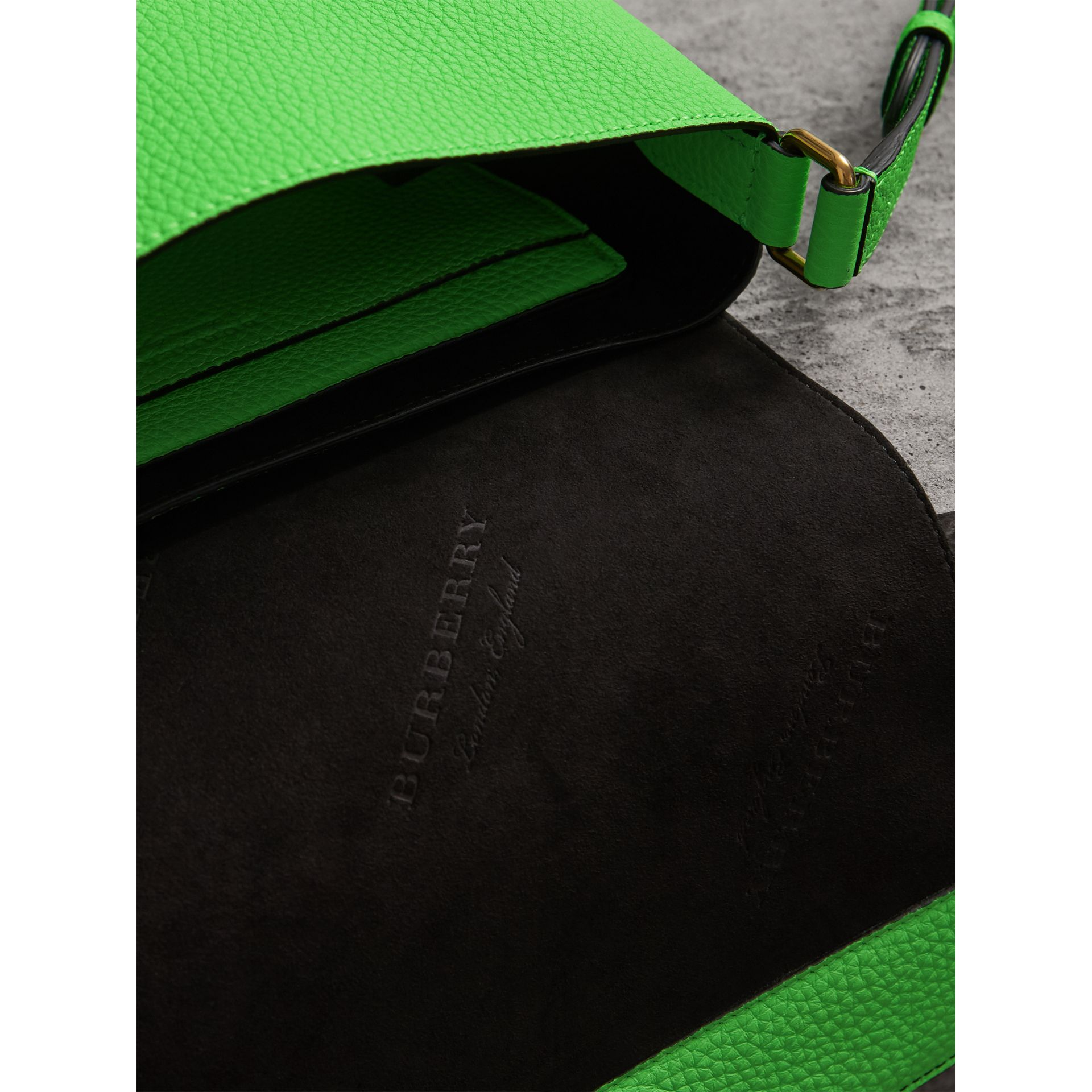 Small Embossed Neon Leather Messenger Bag in Green | Burberry United Kingdom - gallery image 5