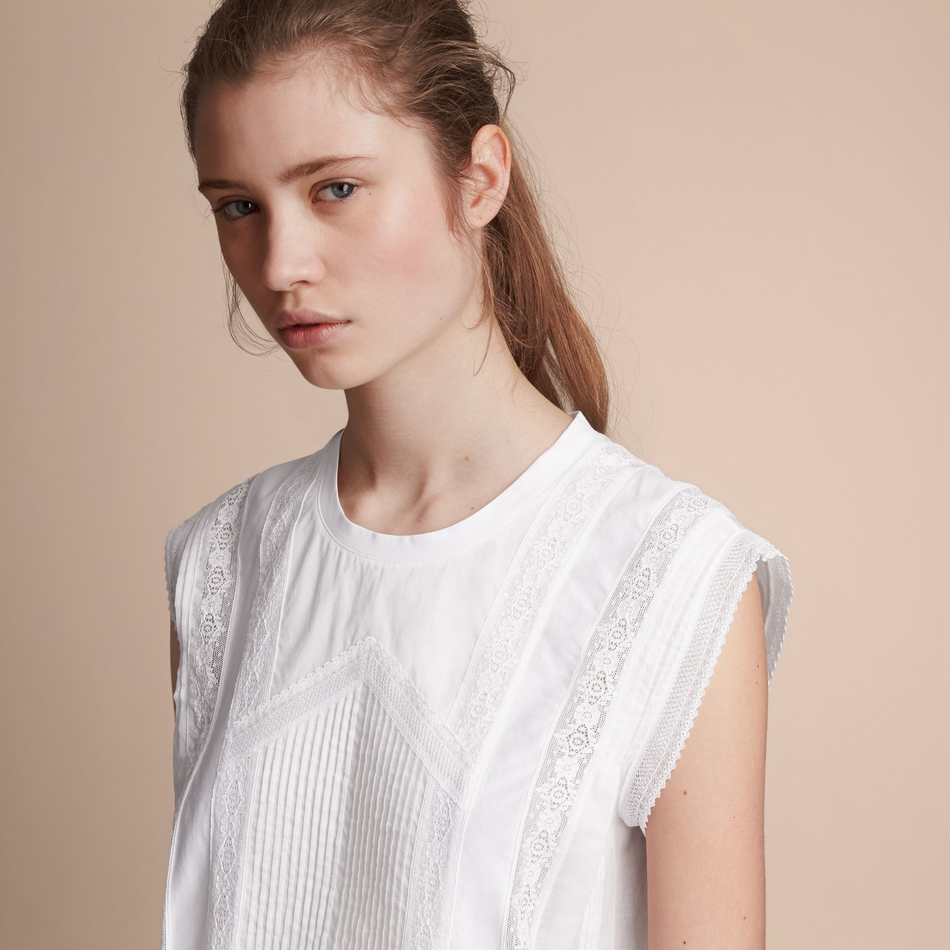 Sleeveless Lace and Pintuck Detail Cotton Top - Women | Burberry - gallery image 5
